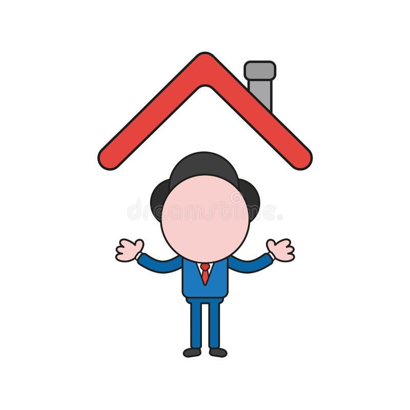 Ilustração do vetor do caráter do homem de negócios sob o telhado da casa C ilustração stock