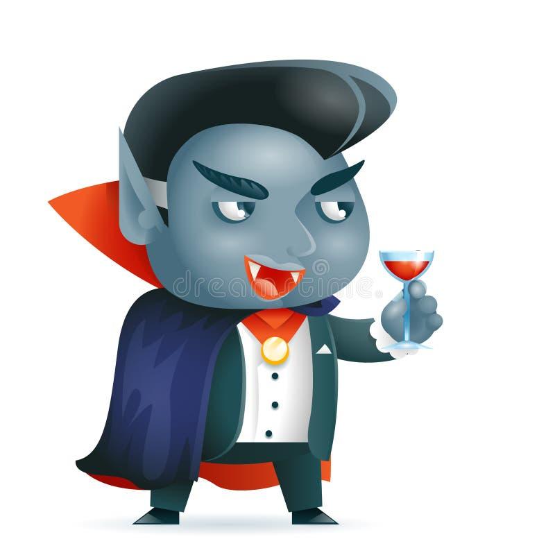 Ilustração do vetor do caráter do jogo do RPG da fantasia do disfarce da criança do traje das crianças do Dia das Bruxas do vampi ilustração royalty free