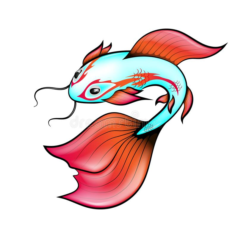 A ilustração do vetor, carpa chinesa tem uma cor ciana com aletas brilhantes e um teste padrão em torno dos olhos Isolado no fund ilustração do vetor
