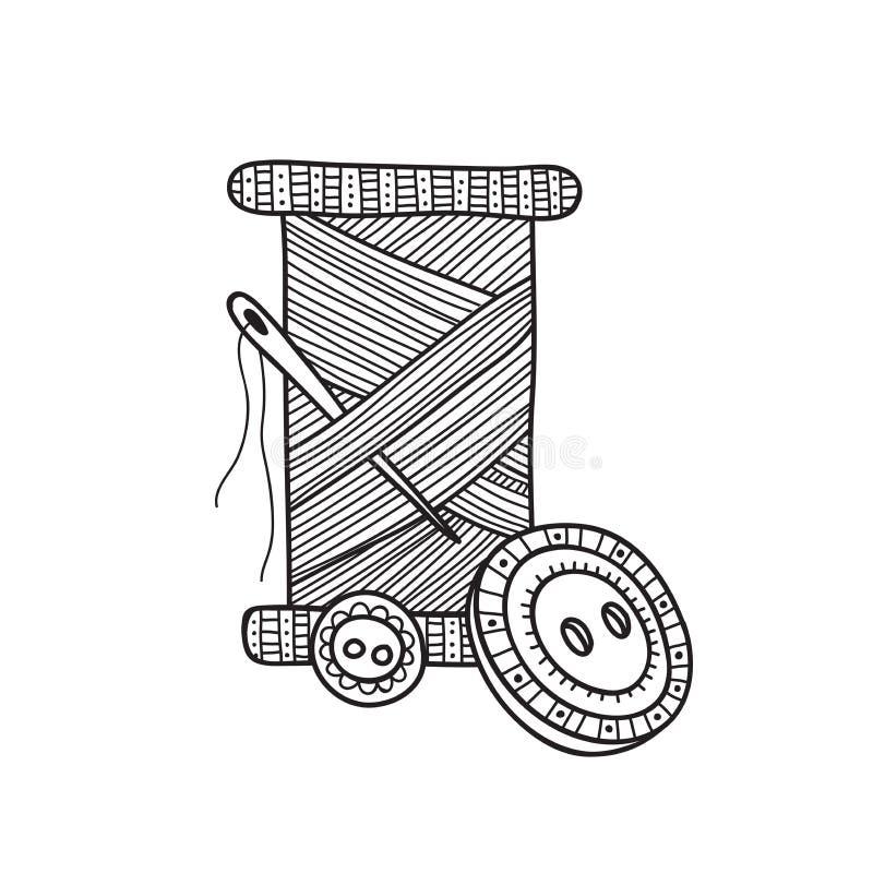 Ilustração do vetor do carretel da linha com botão e agulha ilustração stock