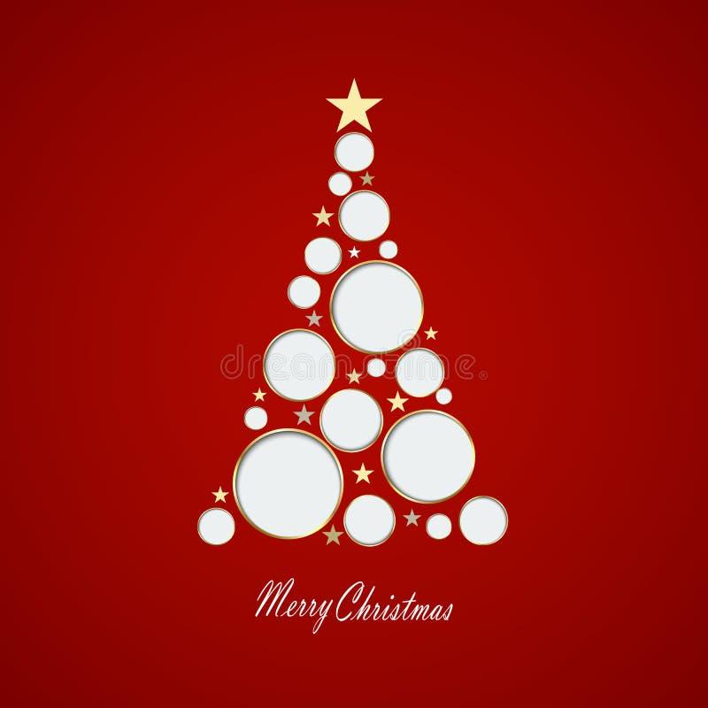 Ilustração do vetor Cartão de Natal com a árvore de Natal feita dos círculos e das estrelas eps10 ilustração do vetor
