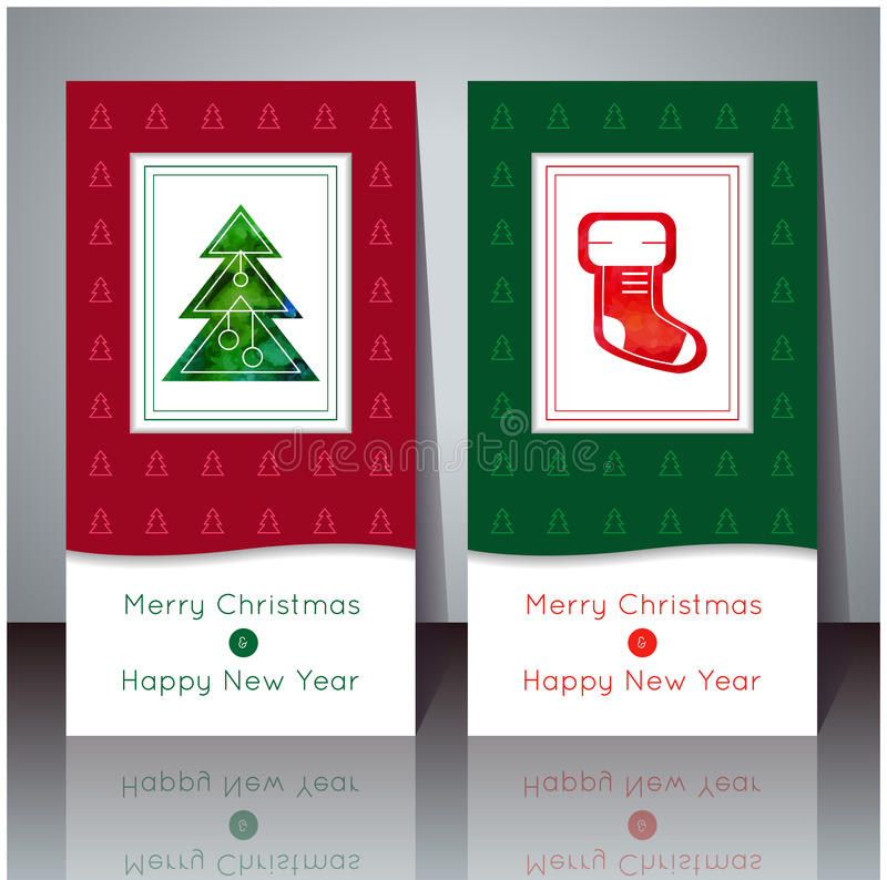 Ilustração do vetor Cartão do Natal e do ano novo Cartões do inverno com árvore de Natal e peúga do Natal Projeto do feriado PA ilustração stock