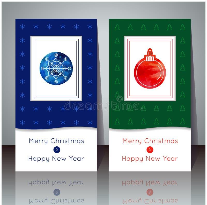 Ilustração do vetor Cartão do Natal e do ano novo Cartões do inverno com floco de neve e bola Projeto do feriado Cartaz do partid ilustração stock