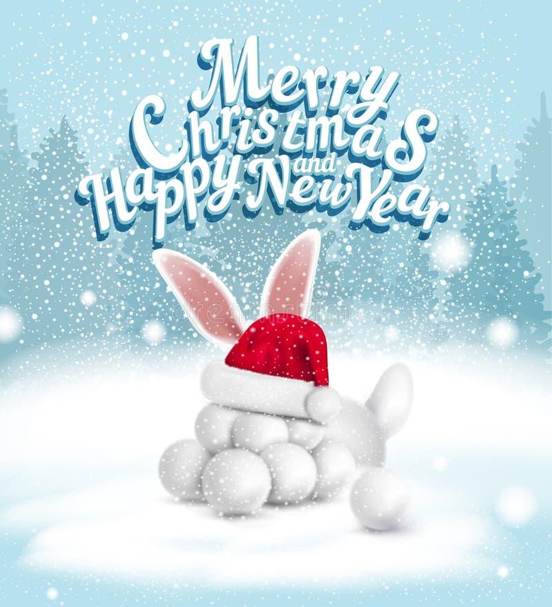 Ilustração do vetor Cartão pelo Natal e o ano novo com sn ilustração stock