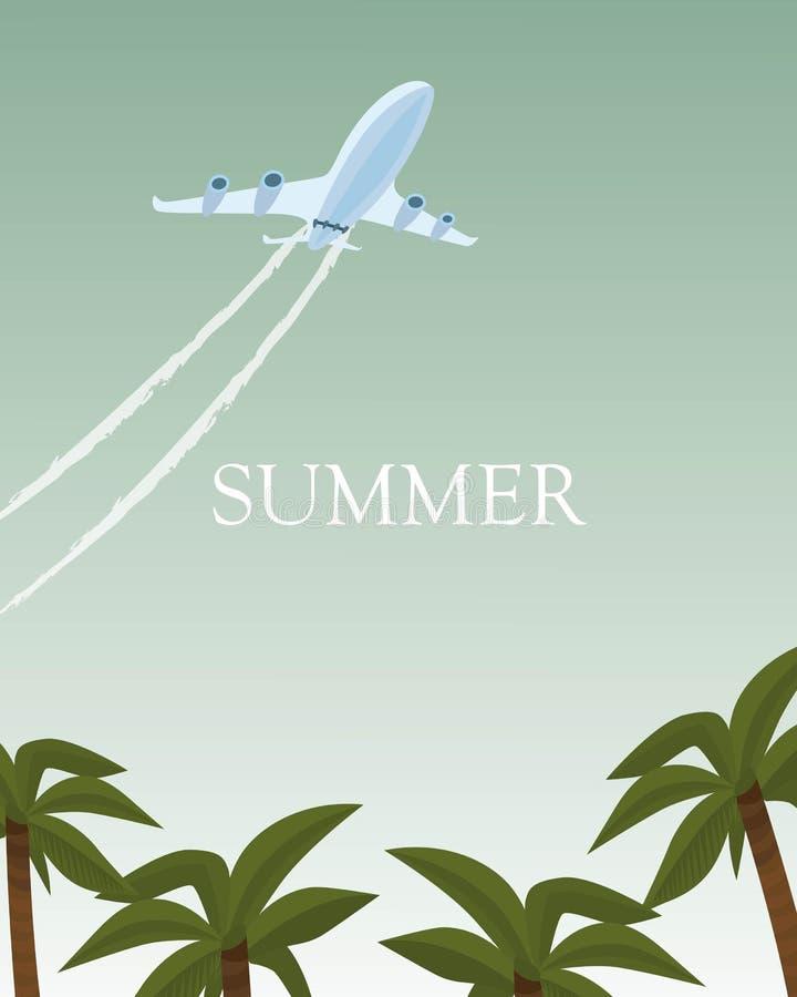 Ilustração do vetor do cartaz do avião do verão Conceito das f?rias e do turismo Plano voa sobre palmeiras Aviões acima ilustração do vetor