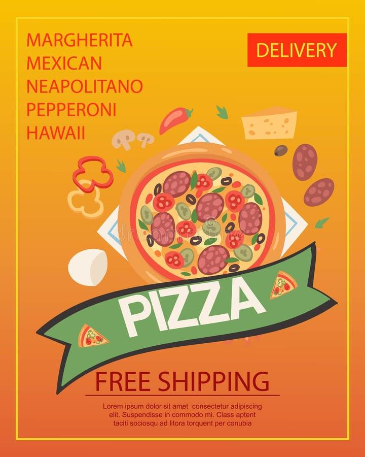 Ilustração do vetor do cartaz da entrega da pizza Serviço de envio livre do fast food Tipos diferentes de pizza tais como o margh ilustração do vetor
