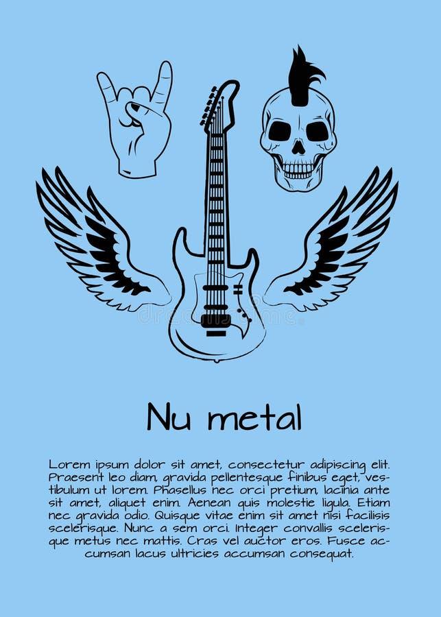 Ilustração do vetor do cartaz da música do metal do NU ilustração royalty free