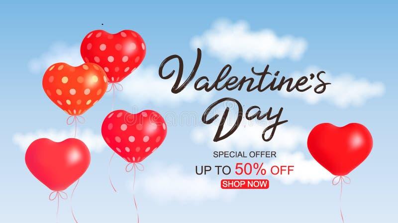 Ilustração do vetor, cartaz da venda do dia do Valentim s, projeto da oferta especial ilustração stock