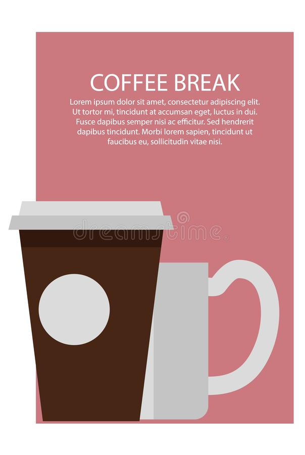 Ilustração do vetor do cartaz e do texto da ruptura de café ilustração do vetor