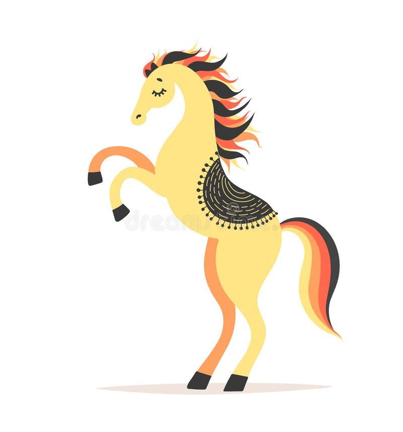 Ilustração do vetor do cavalo elevada Artista do circo que faz o truque Personagem de banda desenhada bonito ilustração royalty free