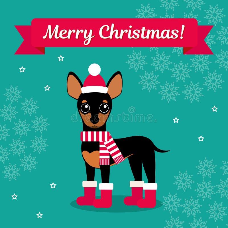 Ilustração do vetor Chihuahua nas botas, no chapéu e no lenço no fundo dos flocos de neve Imagem do Natal para a decoração imagem de stock