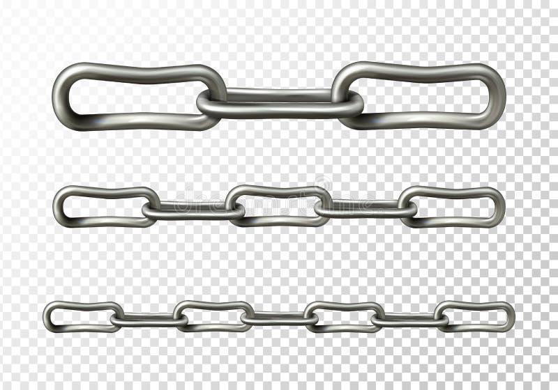 Ilustração do vetor do close up dos elos de corrente do metal ilustração do vetor