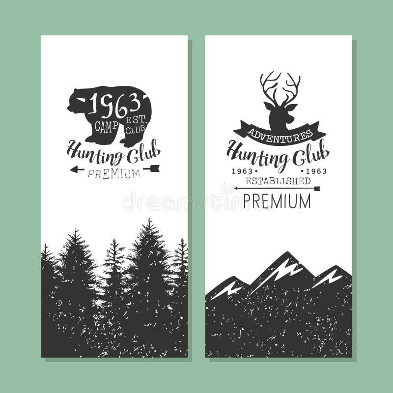 Ilustração do vetor do clube de caça Logo Templates Set, do Forest Camping Vintage Labels ou dos crachás ilustração stock