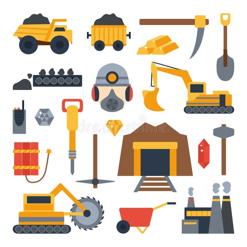 Ilustração do vetor com ícones da mineração ilustração royalty free