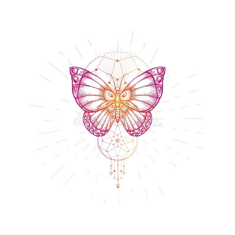 Ilustração do vetor com a borboleta tirada mão e símbolo geométrico sagrado no fundo branco Sinal místico abstrato ilustração stock