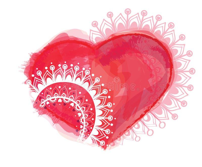 Ilustração do vetor com coração e ornamento ilustração stock