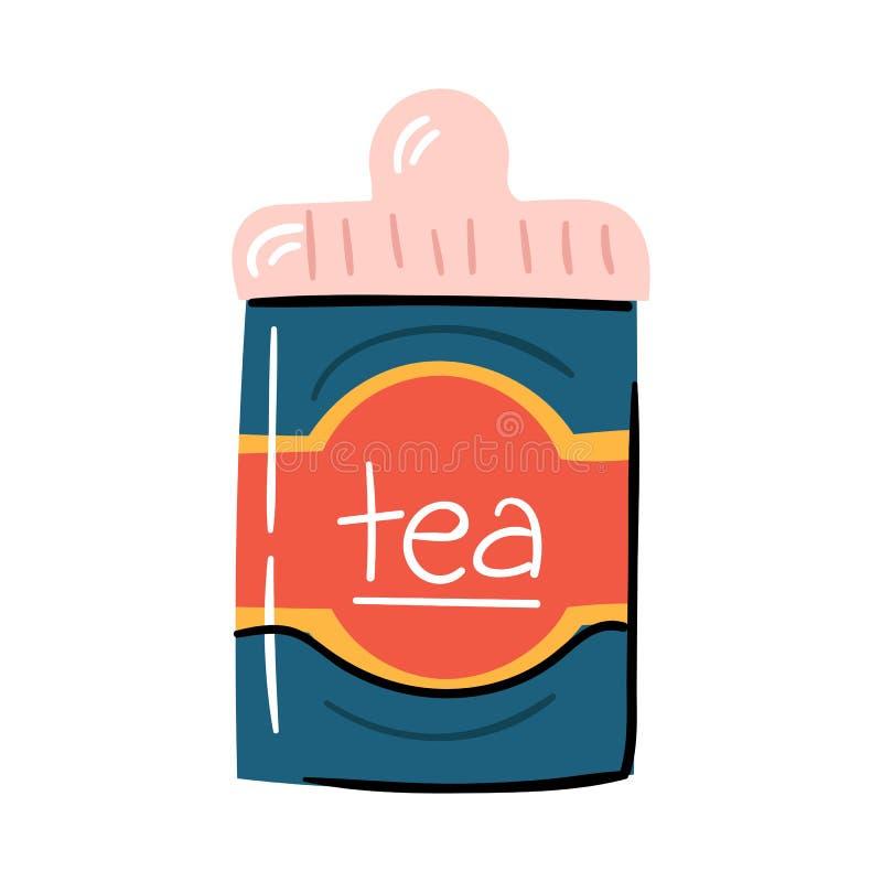 Ilustração do vetor com desenhos animados na moda a caixa isolada do chá do metal do chá ilustração do vetor
