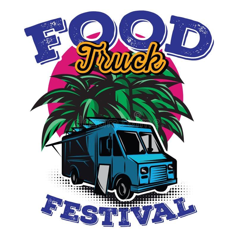 Ilustração do vetor com elementos do projeto para anunciar o festival do alimento da rua ilustração royalty free