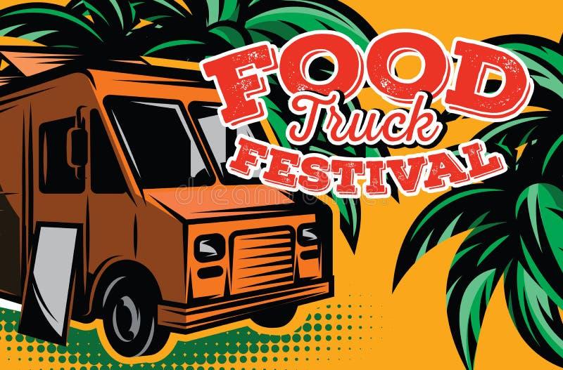 Ilustração do vetor com elementos do projeto para anunciar o festival do alimento da rua ilustração stock