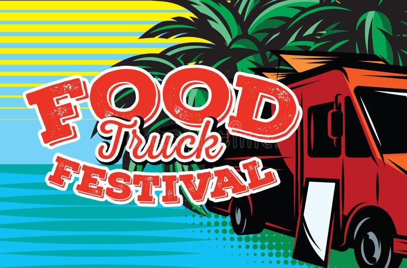 Ilustração do vetor com elementos do projeto para anunciar o festival do alimento da rua ilustração do vetor