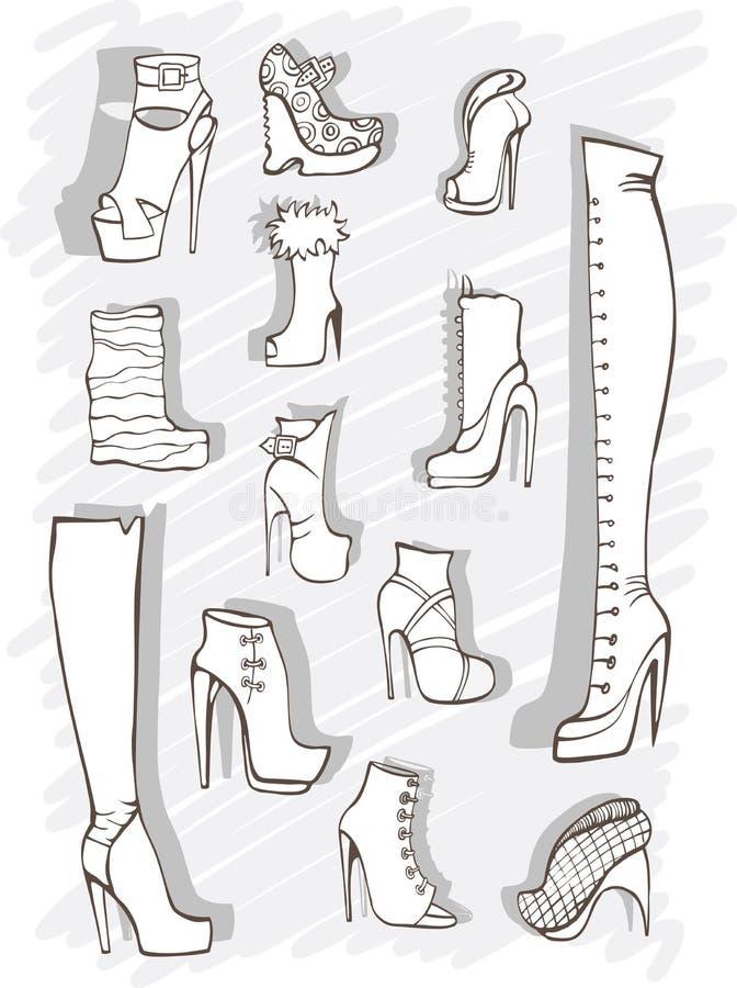 Ilustração do vetor com envelopes e uma pena ilustração stock