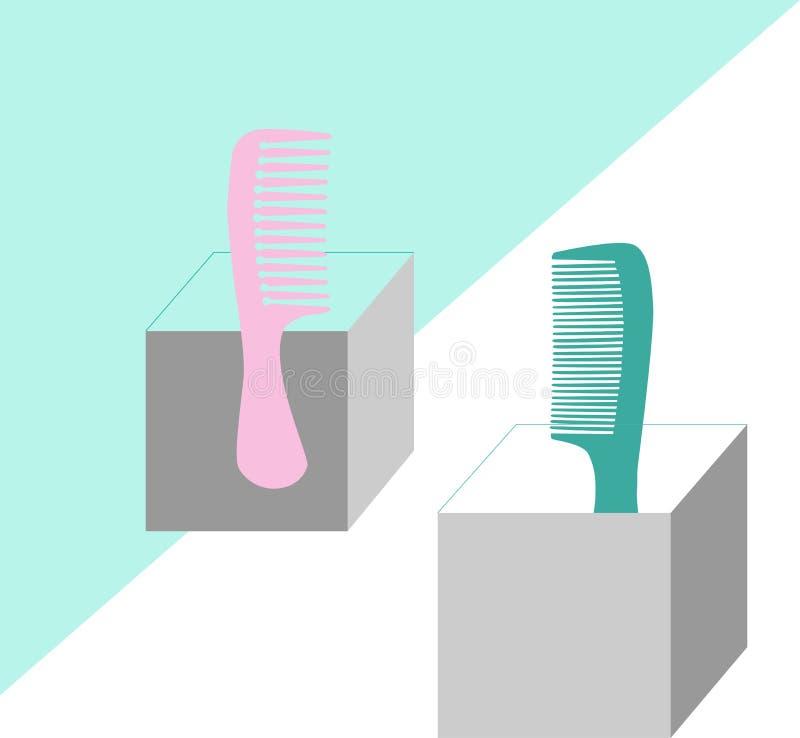 Ilustração do vetor com escovas de cabelo Objetos dos acessórios do cabelo ilustração do vetor