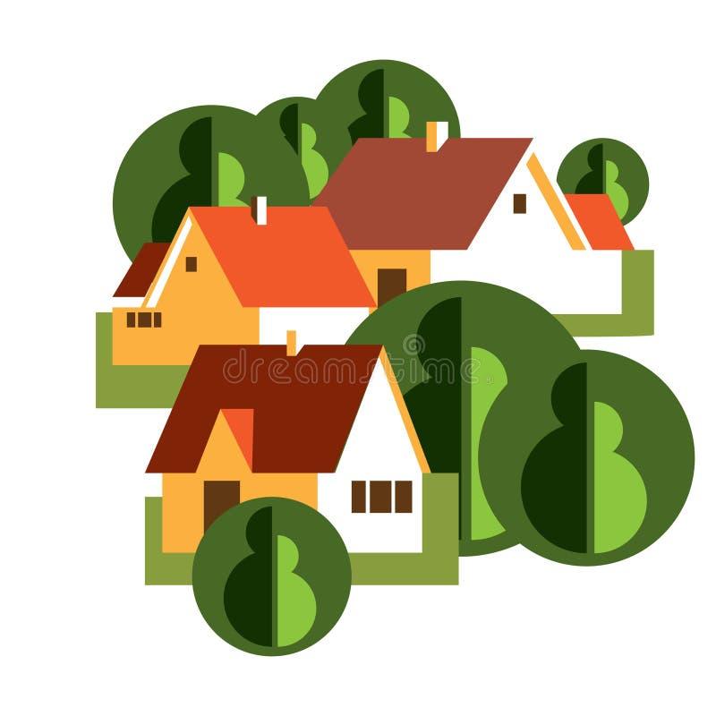Ilustração do vetor com grupo de casas de campo imagem de stock