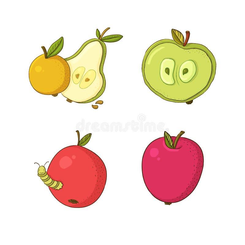 Ilustração do vetor com maçãs e pera ilustração do vetor