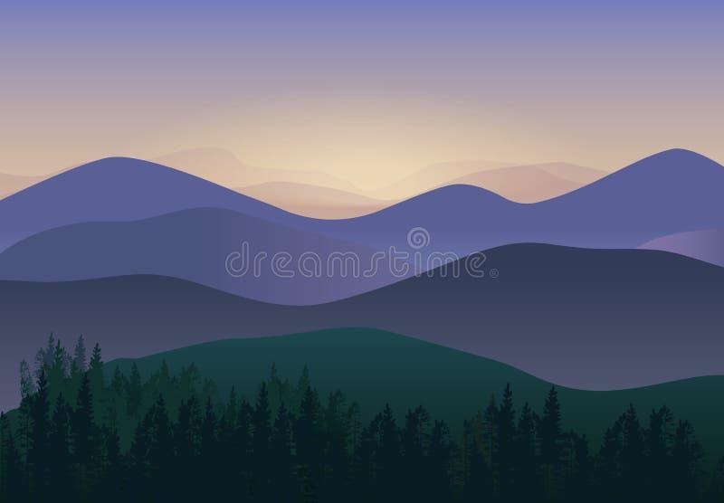 Ilustração do vetor com Mountain View do panorama Cenário maravilhoso da natureza ilustração stock