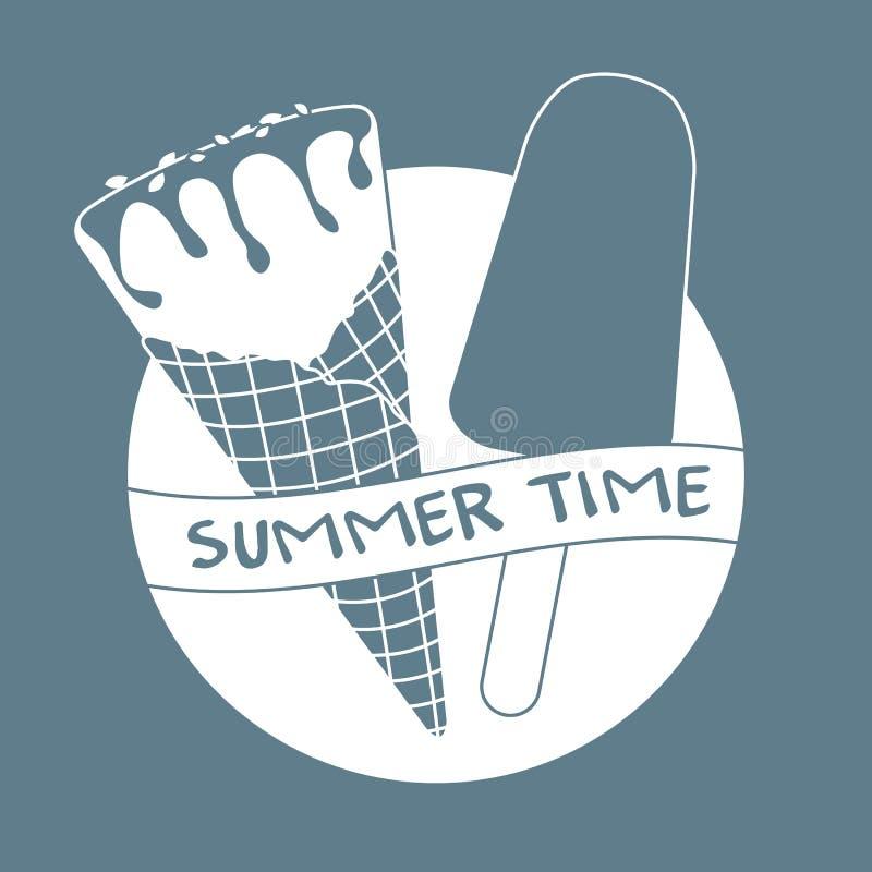 Ilustração do vetor com o cone de gelado, lolly de gelo ilustração royalty free