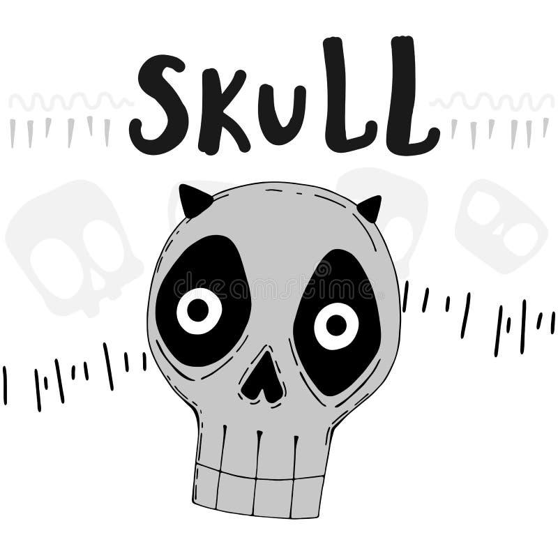 Ilustração do vetor com o crânio engraçado bonito, rotulando e decorando elementos ilustração do vetor