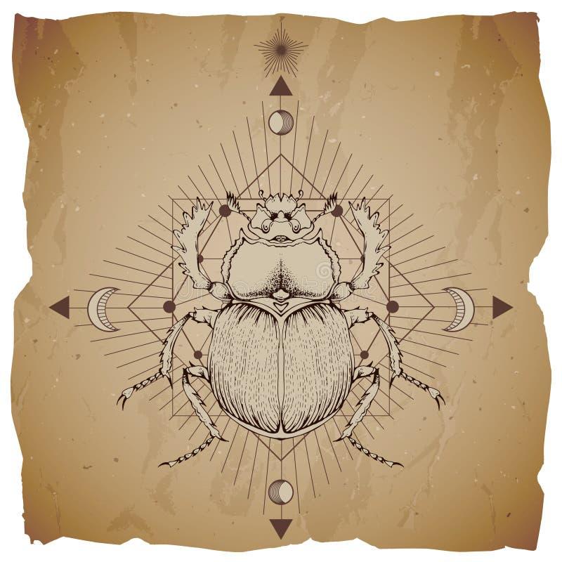 Ilustração do vetor com o escaravelho tirado mão e símbolo geométrico sagrado no fundo do papel do vintage com bordas rasgadas Su ilustração do vetor