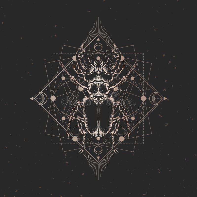 Ilustração do vetor com o inseto tirado mão e símbolo geométrico sagrado no fundo preto do vintage Sinal místico abstrato Ouro li ilustração do vetor