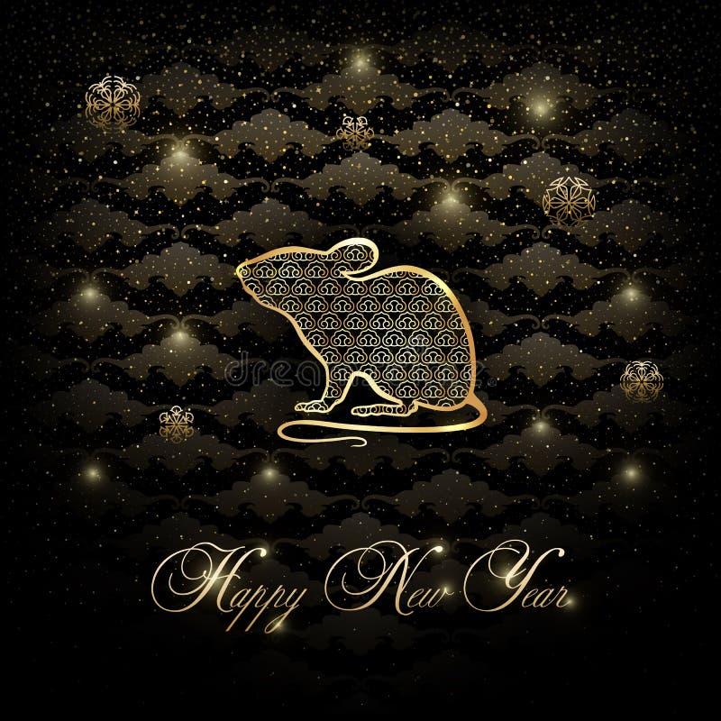 Ilustração do vetor com o rato - uma mascote do ano novo ilustração stock