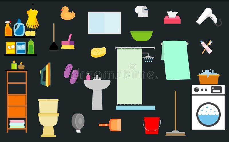 Ilustração do vetor com objetos do banheiro ilustração royalty free