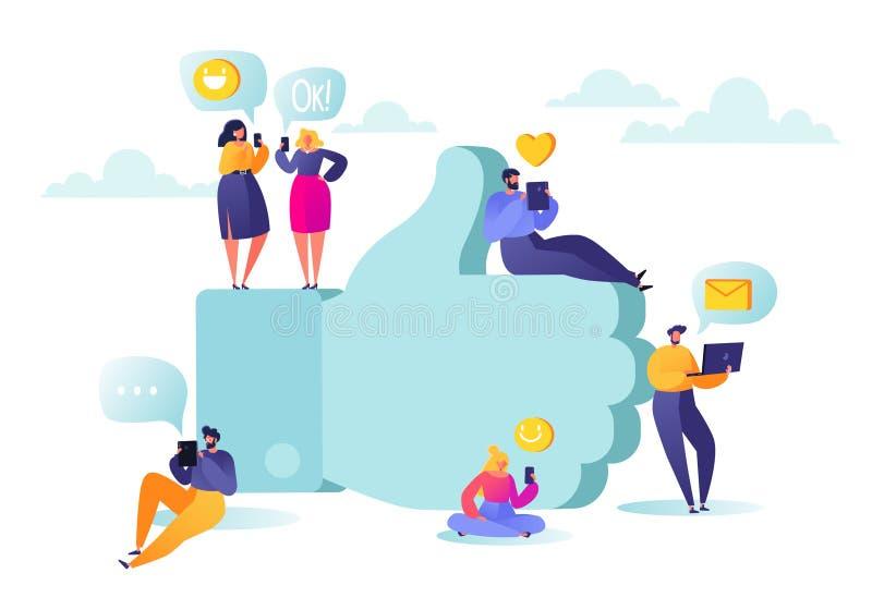 Ilustração do vetor com os caráteres lisos dos povos que conversam em redes sociais perto do symbolemoji grande como ilustração do vetor
