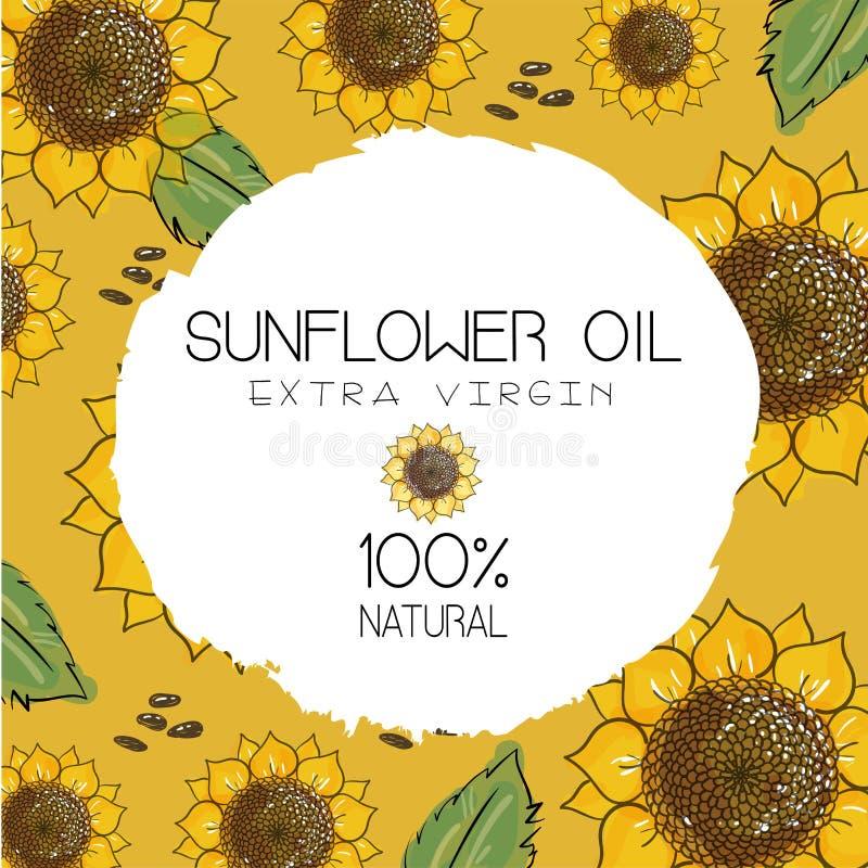 Ilustração do vetor com os girassóis handdrawn com as sementes no fundo amarelo do ocre Projeto para o óleo de girassol, empacota ilustração do vetor