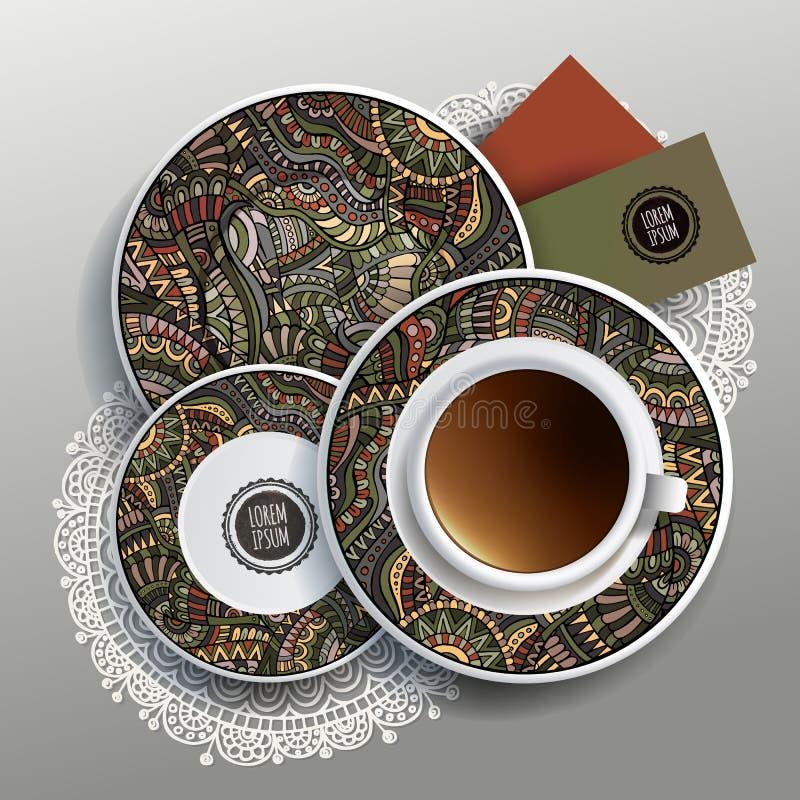 Ilustração do vetor com placas e xícara de café ilustração royalty free