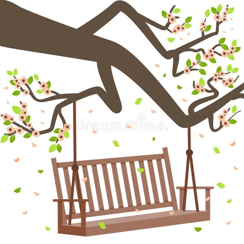 Ilustração do vetor com ramo e banco de árvore ilustração stock