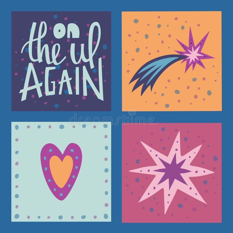 Ilustração do vetor com rotulação e clipart Conceito tirado mão da tipografia do vetor Projeto do t-shirt, decoração home imagem de stock