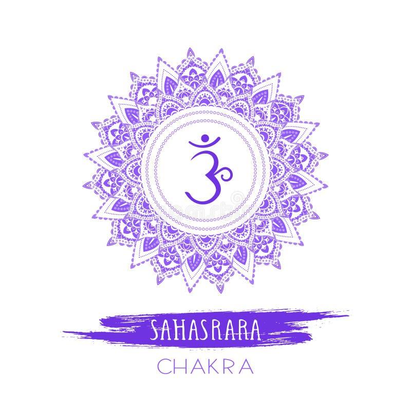 Ilustração do vetor com símbolo Sahasrara - chakra da coroa e elemento da aquarela no fundo branco ilustração royalty free