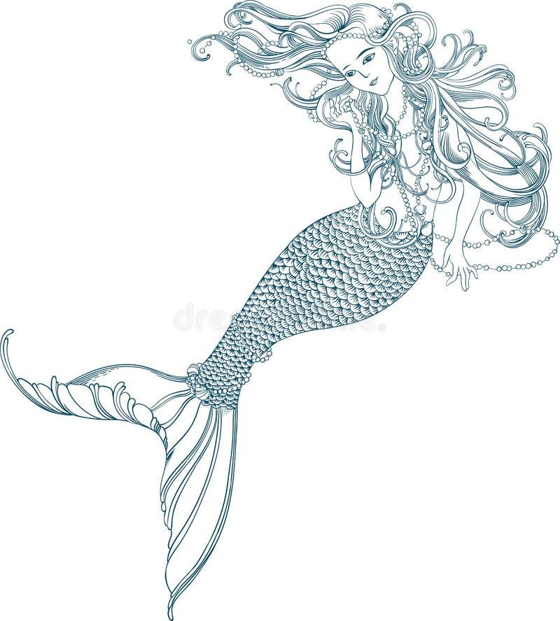 Ilustração do vetor com sereia bonita ilustração royalty free
