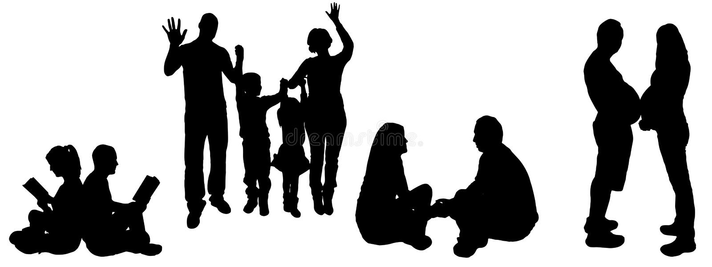 Ilustração do vetor com silhuetas da família. ilustração royalty free