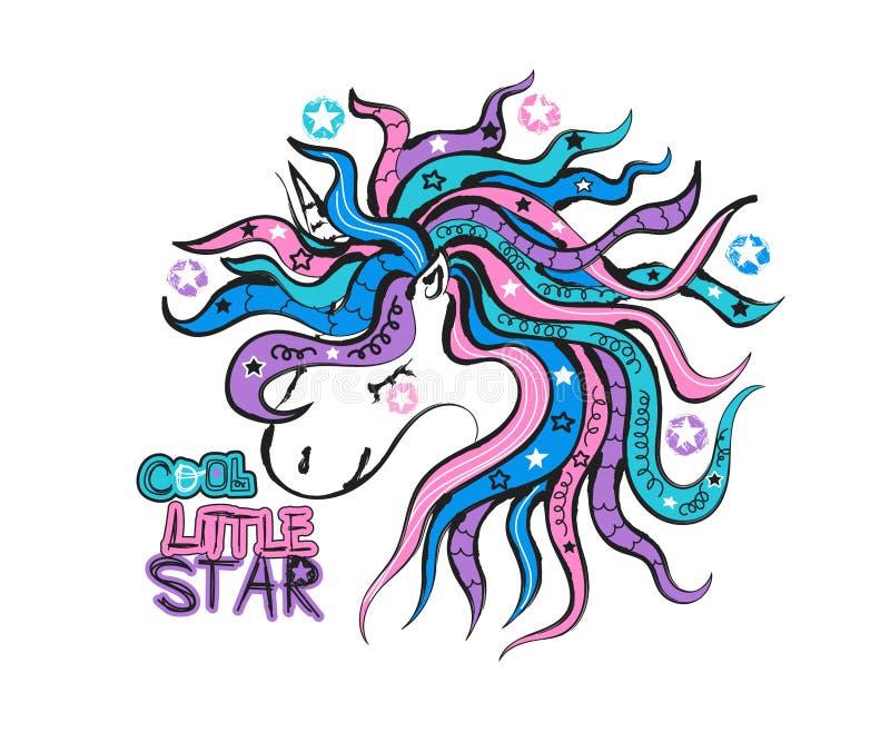 Ilustração do vetor com um unicórnio Tipografia pequena fresca da estrela para o projeto da cópia, gráficos do slogan para t-shir ilustração stock