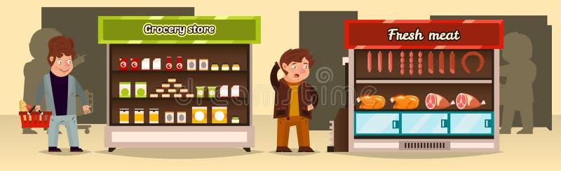 A ilustração do vetor, compradores faz uma compra em uma loja Prateleiras do supermercado com produtos de carne, mantimentos carn ilustração stock