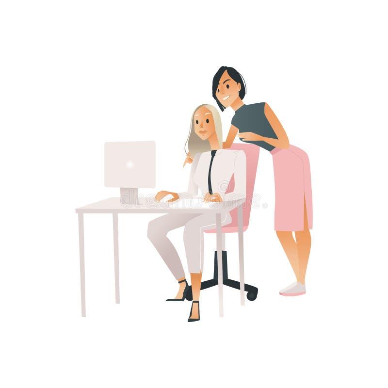 Ilustração do vetor do conceito coworking de uma comunicação com as duas mulheres que trabalham com computador e que discutem ilustração royalty free