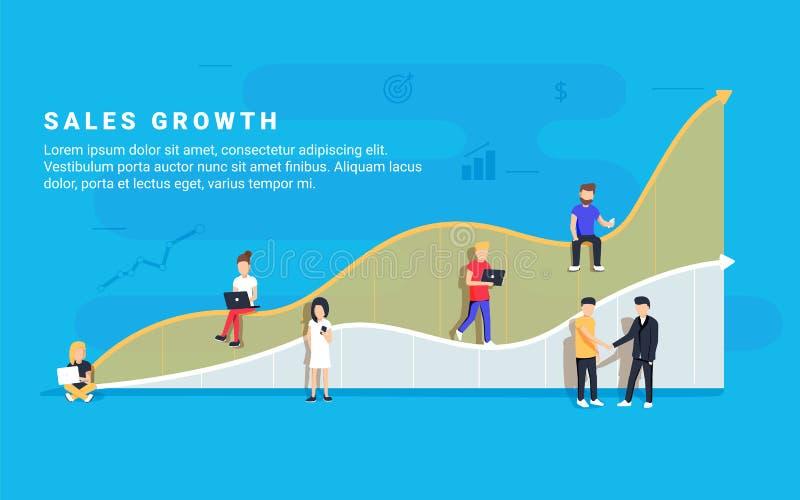 Ilustração do vetor do conceito do crescimento das vendas do negócio dos povos profissionais que trabalham como a equipe ilustração do vetor