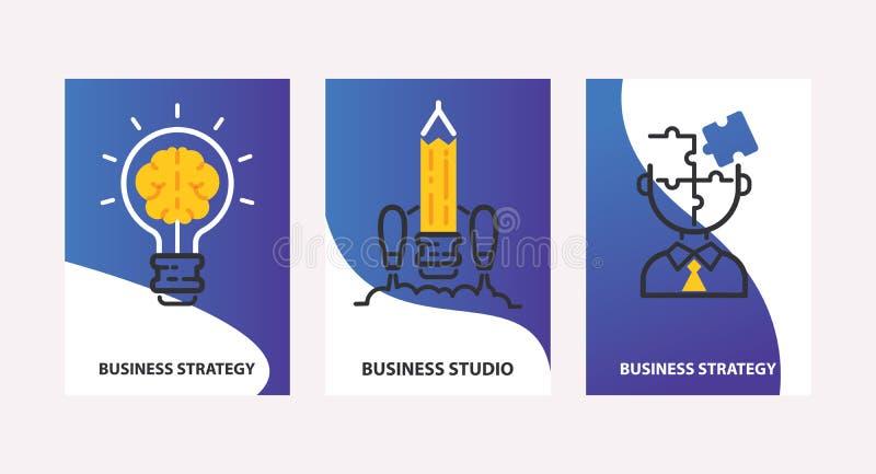 Ilustração do vetor do conceito da estratégia Estratégia empresarial, grupo do estúdio dos cartões Ampola com cérebro Bom ícone d ilustração stock