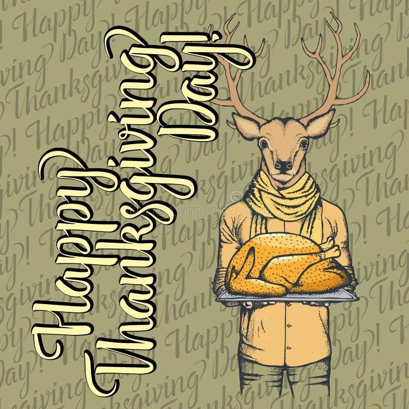 Ilustração do vetor do conceito dos cervos da ação de graças ilustração do vetor