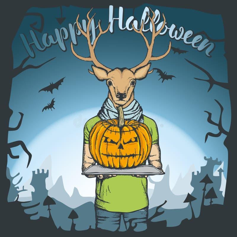 Ilustração do vetor do conceito dos cervos de Dia das Bruxas ilustração do vetor